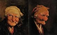 portrait de vieil homme et vieille femme (2 works) by roman arregui