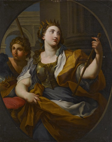 an allegory of justice and an allegory of fortitude pair by sebastiano conca