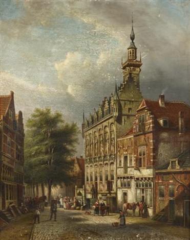 a town view with figures believed to be middleburg zeeland the netherlands by johannes franciscus spohler