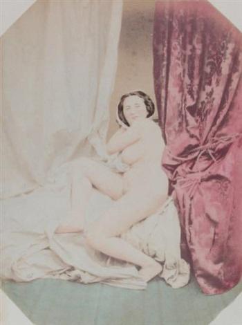 femme au rideau rouge by joseph auguste belloc
