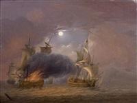 bataille navale au clair de lune by jan van os