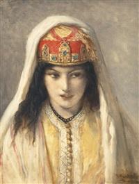 jeune marocaine à la coiffe by jean françois portaëls