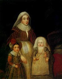 portrait of a lady with her two children by adam de colone