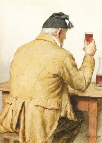 bauer am tisch sitzend rückenansicht old man sitting at table shown from behind by albert anker