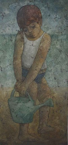 young boy with watering can by louay kayyali