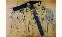 chemin de croix, station ii, jésus est chargé de sa croix (étude) by louis léon eugène billotey