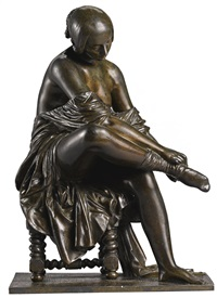 femme mettant son bas (woman putting on a stocking) by jean jacques pradier