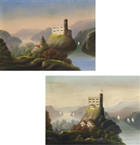 landscapes with castles (pair) by thomas chambers