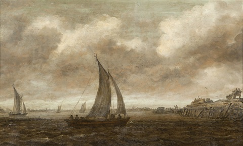 a grey day with sailboats on a river figures and carts on a nearby shore by jan josefsz van goyen