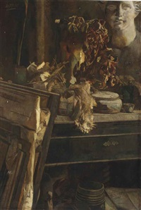 a still life with a plaster head in the artist's studio by henri frédéric boot