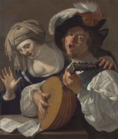 a lute player and a singer a musical score on the table by dirck van baburen