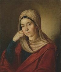 portrait of a young woman by alexandra alekseevna venetsianova