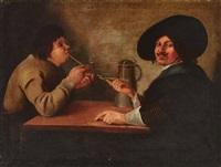 kavalier und jüngling am tisch mit pfeife by michael sweerts