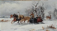 a pair of winter landscapes with sledge driving (2 works) by jan wolski