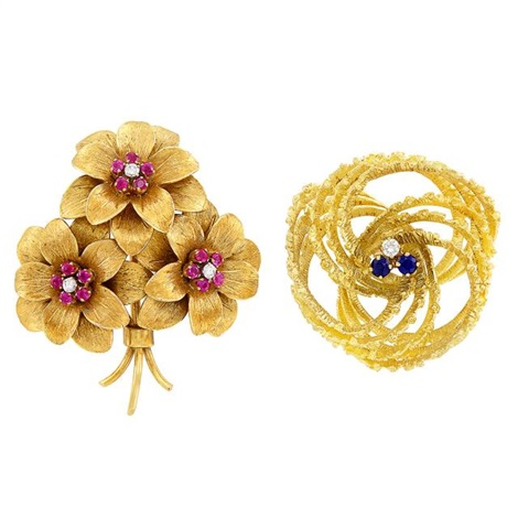 ac34a4b3269 Gold, Ruby and Diamond Flower Brooch, Tiffany Co., and Gold ...