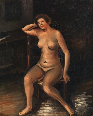 femme nue assise by andré derain