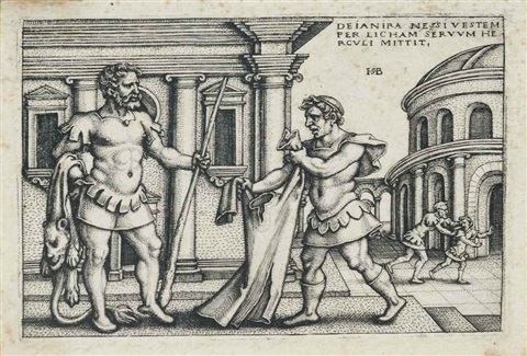 lichas bringing the garment of nessus to hercules from the labours of hercules by hans sebald beham