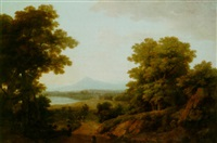 italianate landscape with a view of a lake by robert freebairn