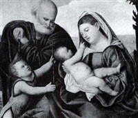 holy family with the infant saint john the baptist by bernardino licinio