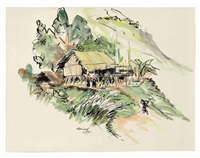 untitled (landscape with hut) by zainul abedin
