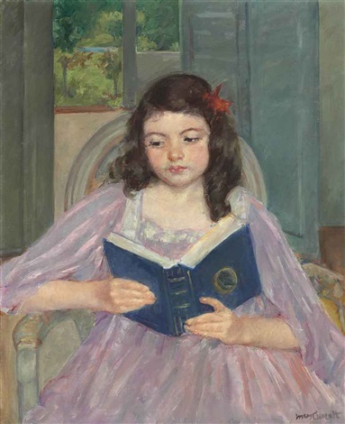 françoise in a round backed chair reading by mary cassatt