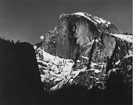 moonrise, half dome, yosemite valley by ansel adams