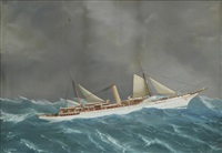 the new york yacht club's steam yacht varuna in an offshore swell by antonio de simone