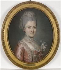 portrait de dame de qualité, de trois-quarts, portant une robe de satin rose, ornée d'un bouquet de fleurs by pierre davesne