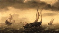 a smalship and staatsjacht sailing in a strong breeze in open seas by hans (johan) goderis