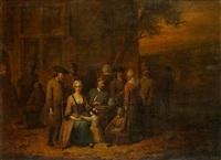 personnages attablés devant une auberge by jan baptist lambrechts