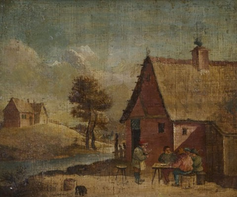 village scene with tavern by david teniers the younger