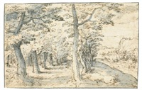 a tree-lined road leading to a rugged coast by philips de momper the elder
