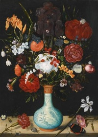 still life of roses, marigolds, aquilegia, violets, convolvulus, hollyhocks by ambrosius bosschaert the elder