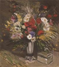 virágcsendélet bonbonierrel (still life of flowers with sweetmeat box) by aurél emöd