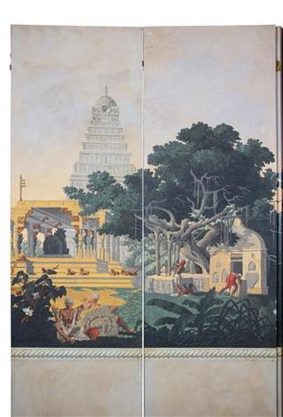 a six-panel panoramic wallpaper panel floor screen - hindustan by zuber & cie