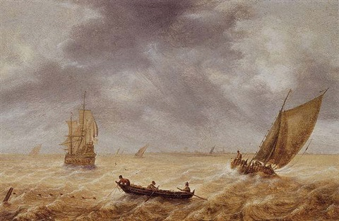 fishermen in a rowboat and other sailing vessels in a choppy sea a city in the distance by hendrick van anthonissen
