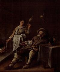 buveur et fileuse près de la cheminée by le nain brothers