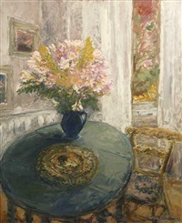 interior with flowers on a table by robert d. bottom