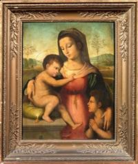 madonna col bambino e san giovannino in un paesaggio by andrea piccinelli
