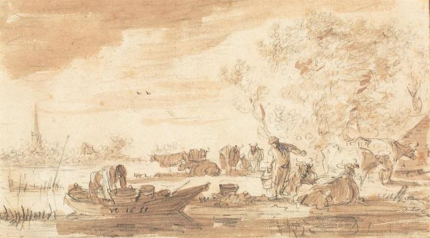 paysage fluvial avec barque villageois et animaux by jan josefsz van goyen