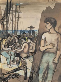 sailors mending nets by john minton