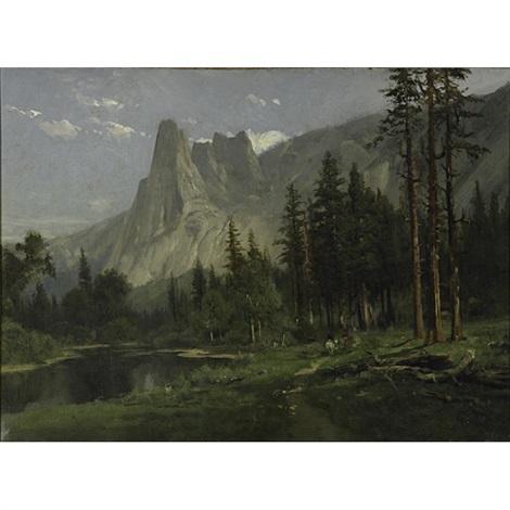 sentinel rock, yosemite valley by william keith