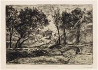 souvenir de toscane (+ paysage d'italie, lrgr; 2 works) by jean-baptiste-camille corot