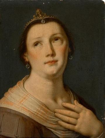 portrait de femme en buste in 2 parts by cornelis cornelisz van haarlem