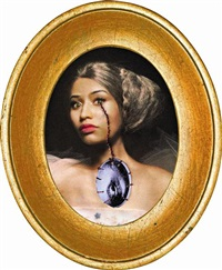 rococo portrait of nicki minaj as jeanne bécu comtesse du barry crying the eye of virginia oldoini contessa di castiglione (study for the november art issue cover of w magazine) by francesco vezzoli