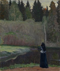 the nightingale is singing by mikhail vasilievich nesterov