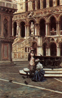 the cortile of palazzo ducale by r. aovatti