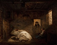 a cow resting in the stable with a farmer conversing with a milkmaid by jean-françois legillon