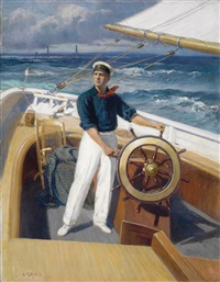 sailing off thacher island by augustus w. buhler