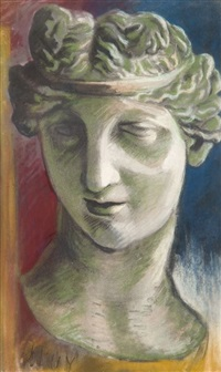 tout près de st. joire - tête de statue de femme (2 works) by jean puy